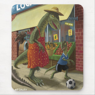 dinosaur mother out shopping with child kicking fo mouse pad