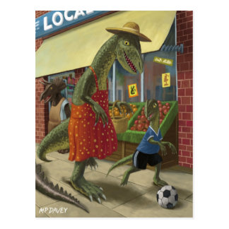 dinosaur mother out shopping with child kicking fo postcard