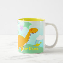 Dinosaur & Mushroom House Back to School Name Mug