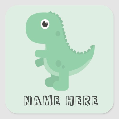 Dinosaur Name Back to School This Book Belongs To Square Sticker