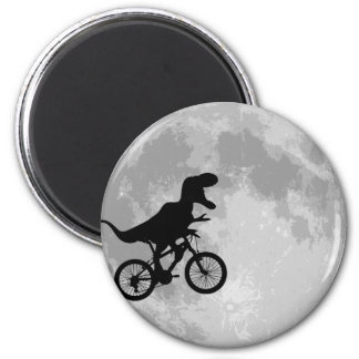 Dinosaur on a Bike In Sky With Moon 2 Inch Round Magnet