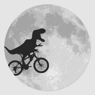 Dinosaur on a Bike In Sky With Moon Classic Round Sticker