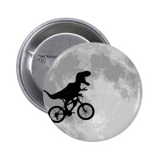 Dinosaur on a Bike In Sky With Moon Fun 2 Inch Round Button