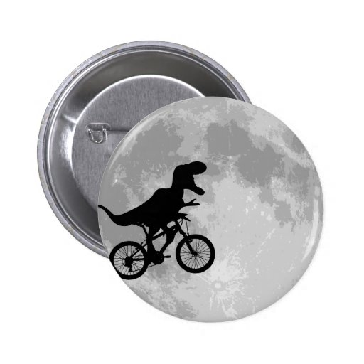 Dinosaur on a Bike In Sky With Moon Fun Buttons