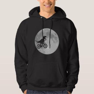 Dinosaur on a Bike In Sky With Moon Hoodie