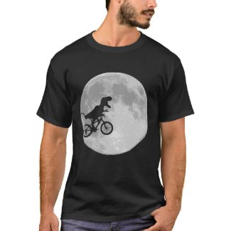 Dinosaur on a Bike In Sky With Moon
