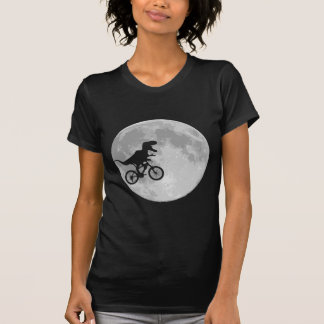 Dinosaur on a Bike In Sky With Moon Tshirt
