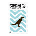 Dinosaur on Chevron Zigzag - Blue and White Postage Stamps