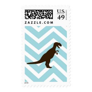 Dinosaur on Chevron Zigzag - Blue and White Stamp