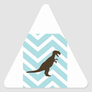 Dinosaur on Chevron Zigzag - Blue and White Triangle Sticker