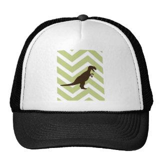 Dinosaur on Chevron Zigzag - Green and White Trucker Hat