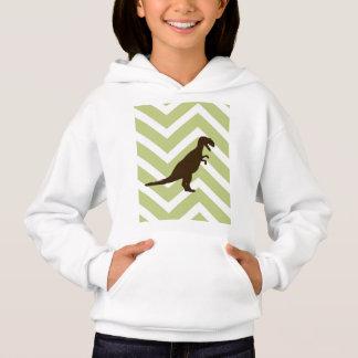 Dinosaur on Chevron Zigzag - Green and White Hoodie