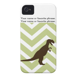 Dinosaur on Chevron Zigzag - Green and White iPhone 4 Case-Mate Case