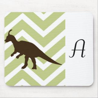 Dinosaur on Chevron Zigzag - Green and White Mousepad