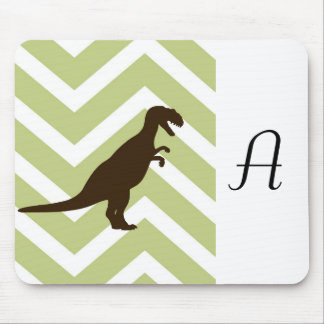 Dinosaur on Chevron Zigzag - Green and White Mousepads