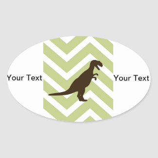 Dinosaur on Chevron Zigzag - Green and White Oval Sticker
