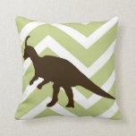 Dinosaur on Chevron Zigzag - Green and White Throw Pillows