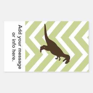 Dinosaur on Chevron Zigzag - Green and White Rectangular Sticker