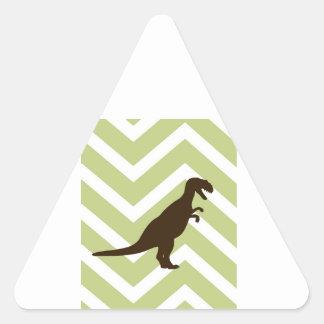 Dinosaur on Chevron Zigzag - Green and White Triangle Sticker