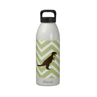 Dinosaur on Chevron Zigzag - Green and White Reusable Water Bottles