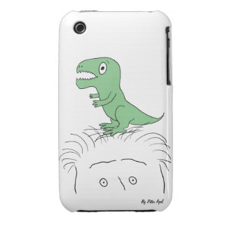 Dinosaur on My Head iPhone Case (3/3GS) green dino iPhone 3 Cases