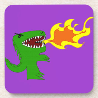 Dinosaur or Dragon Art by little t and Rene Lopez Beverage Coaster