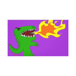 Dinosaur or Dragon Art by little t and Rene Lopez Stretched Canvas Prints