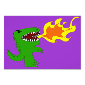 """Dinosaur or Dragon Art by little t and Rene Lopez 3.5"""" X 5"""" Invitation Card"""