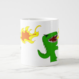 Dinosaur or Dragon Art by little t and Rene Lopez Large Coffee Mug