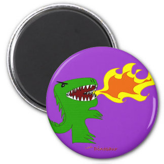 Dinosaur or Dragon Art by little t and Rene Lopez Refrigerator Magnets