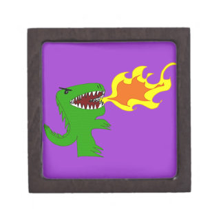 Dinosaur or Dragon Art by little t and Rene Lopez Premium Trinket Boxes