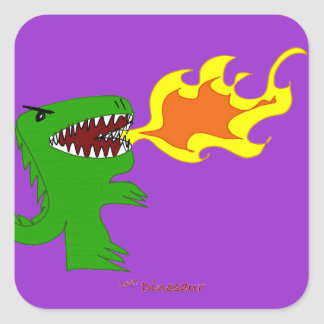 Dinosaur or Dragon Art by little t and Rene Lopez Square Sticker