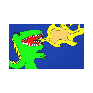 Dinosaur or Dragon Art by little t + Joseph Adams Stretched Canvas Prints