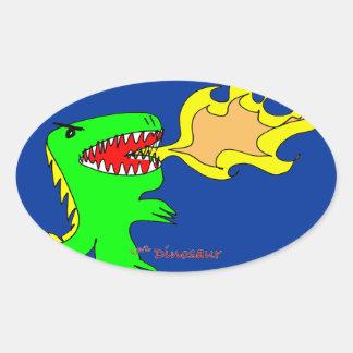 Dinosaur or Dragon Art by little t + Joseph Adams Oval Sticker