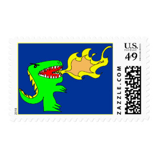 Dinosaur or Dragon Art by little t + Joseph Adams Stamp