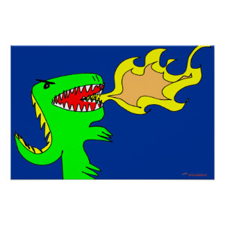 Dinosaur or Dragon Art by little t + Joseph Adams Poster