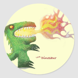 Dinosaur or Dragon by little t and Abdul Rasheed Classic Round Sticker