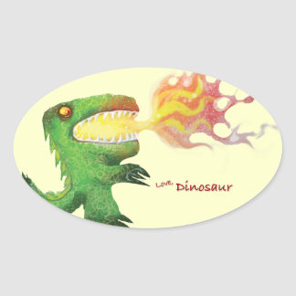 Dinosaur or Dragon by little t and Abdul Rasheed Oval Sticker