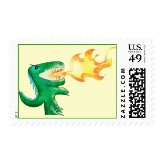 Dinosaur or Dragon by little t and Andrew Harmon Postage Stamps