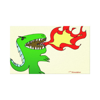 Dinosaur or Dragon by little t + Jessica Jimerson Stretched Canvas Print