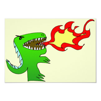 "Dinosaur or Dragon by little t + Jessica Jimerson 3.5"" X 5"" Invitation Card"