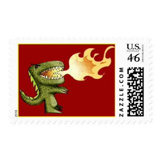 Dinosaur or Dragon kids art with Loston Wallace Postage Stamps