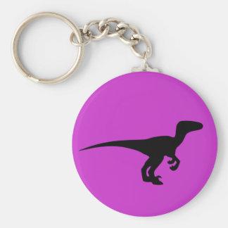 Dinosaur Outline Jurassic Era Basic Round Button Keychain