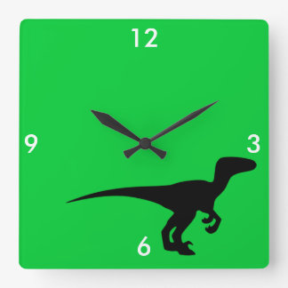 Dinosaur Outline Jurassic Era Square Wall Clocks