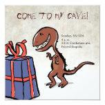 dinosaur party 5.25x5.25 square paper invitation card