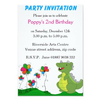 "Dinosaur Party Invitation 5"" X 7"" Invitation Card"