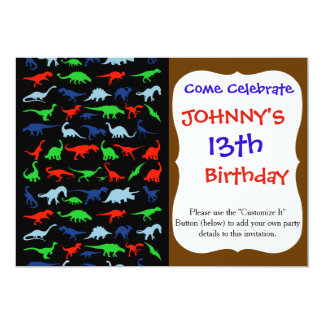 Dinosaur Pattern Green Blue and Red on Black 5x7 Paper Invitation Card
