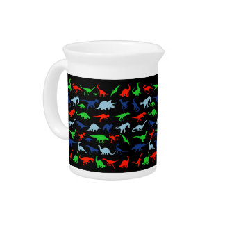Dinosaur Pattern Green Blue and Red on Black Beverage Pitcher