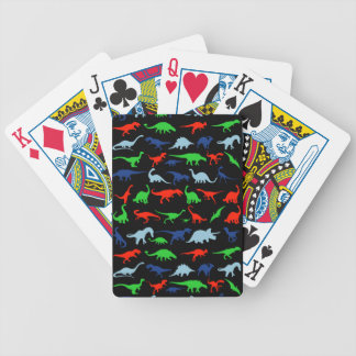 Dinosaur Pattern Green Blue and Red on Black Bicycle Playing Cards