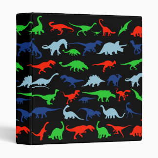 Dinosaur Pattern Green Blue and Red on Black Binder